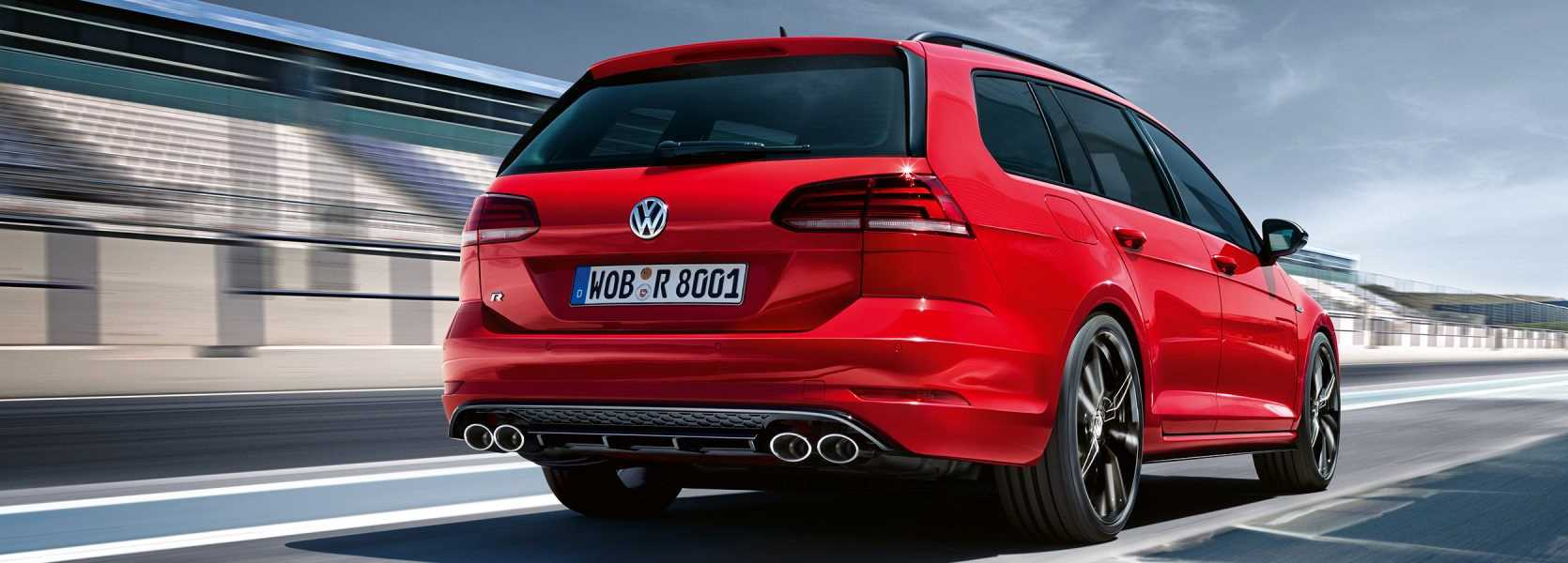 VW Golf Estate in red rear view